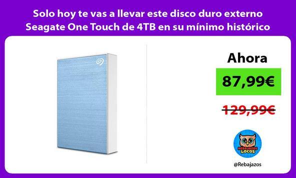 Solo hoy te vas a llevar este disco duro externo Seagate One Touch de 4TB en su mínimo histórico