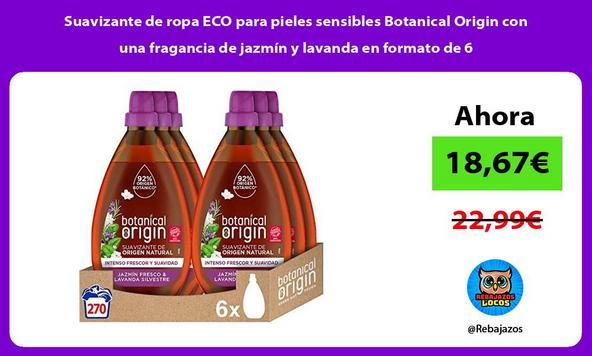 Suavizante de ropa ECO para pieles sensibles Botanical Origin con una fragancia de jazmín y lavanda en formato de 6
