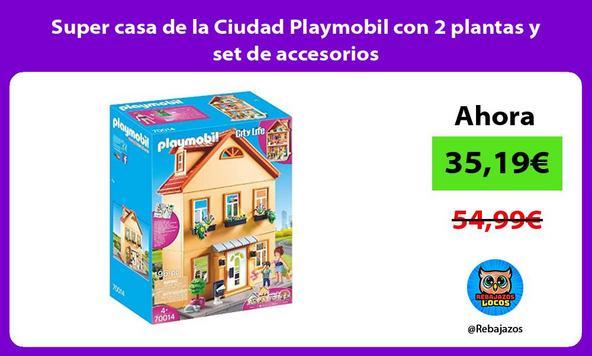 Super casa de la Ciudad Playmobil con 2 plantas y set de accesorios