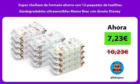 Super chollazo de formato ahorro con 12 paquetes de toallitas biodegradables ultrasensibles Mama Bear con diseño Disney