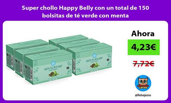 Super chollo Happy Belly con un total de 150 bolsitas de té verde con menta