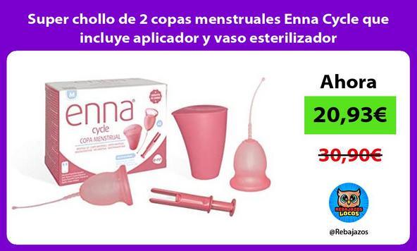 Super chollo de 2 copas menstruales Enna Cycle que incluye aplicador y vaso esterilizador