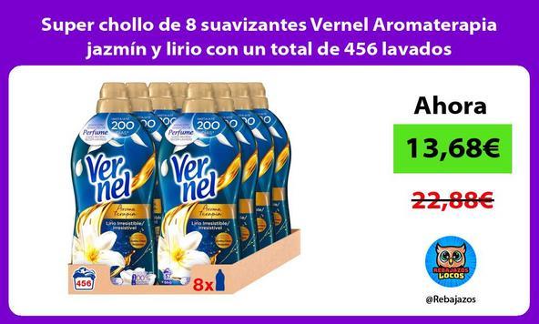Super chollo de 8 suavizantes Vernel Aromaterapia jazmín y lirio con un total de 456 lavados