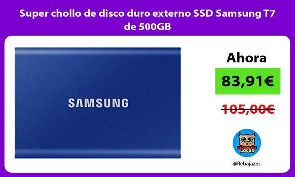 Super chollo de disco duro externo SSD Samsung T7 de 500GB
