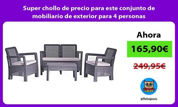 Super chollo de precio para este conjunto de mobiliario de exterior para 4 personas