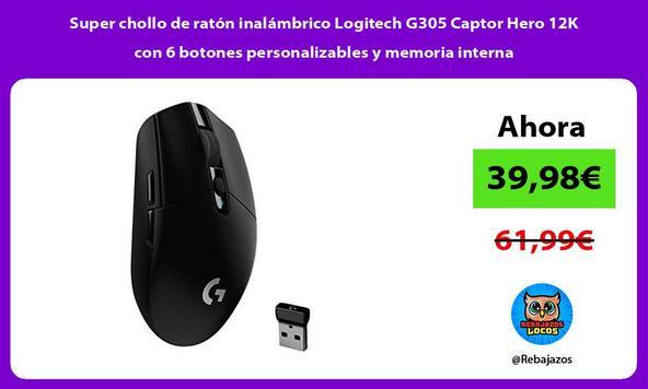 Super chollo de ratón inalámbrico Logitech G305 Captor Hero 12K con 6 botones personalizables y memoria interna
