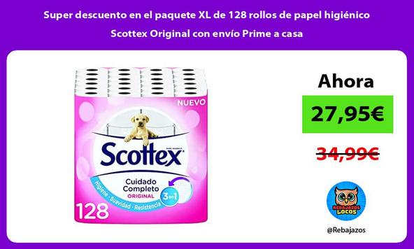 Super descuento en el paquete XL de 128 rollos de papel higiénico Scottex Original con envío Prime a casa