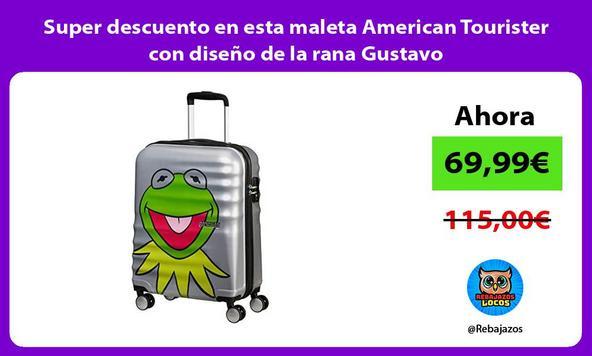 Super descuento en esta maleta American Tourister con diseño de la rana Gustavo