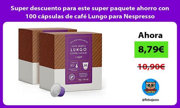 Super descuento para este super paquete ahorro con 100 cápsulas de café Lungo para Nespresso