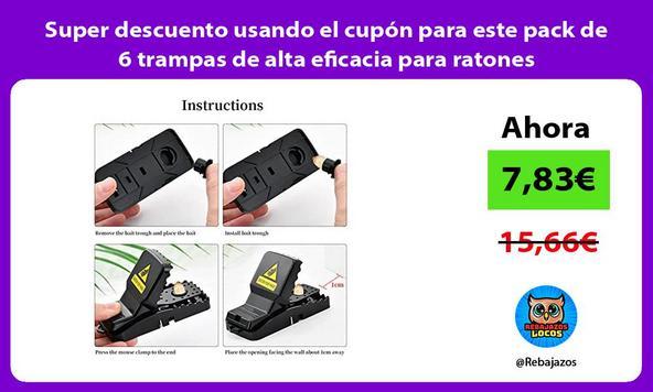 Super descuento usando el cupón para este pack de 6 trampas de alta eficacia para ratones