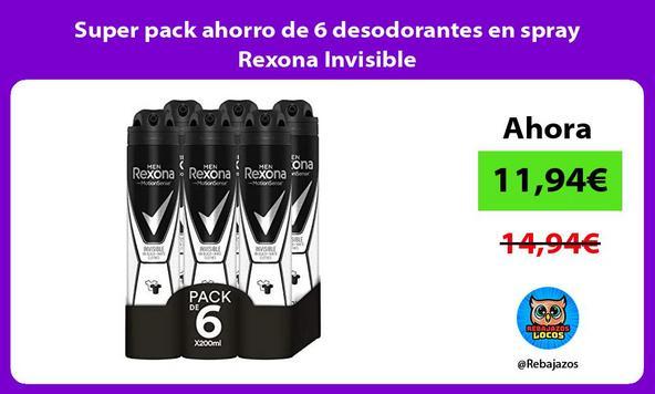 Super pack ahorro de 6 desodorantes en spray Rexona Invisible