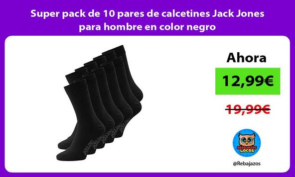 Super pack de 10 pares de calcetines Jack Jones para hombre en color negro
