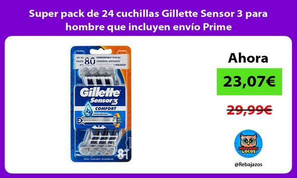 Super pack de 24 cuchillas Gillette Sensor 3 para hombre que incluyen envío Prime