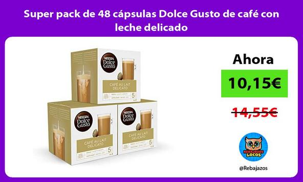 Super pack de 48 cápsulas Dolce Gusto de café con leche delicado