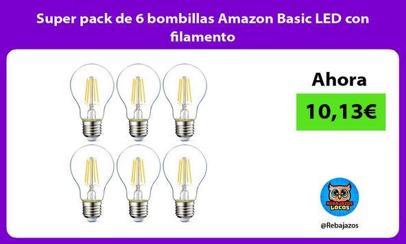 Super pack de 6 bombillas Amazon Basic LED con filamento