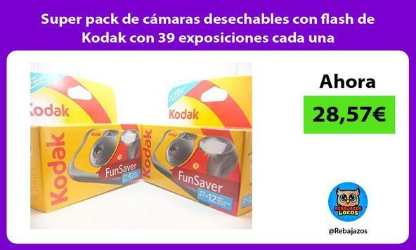 Super pack de cámaras desechables con flash de Kodak con 39 exposiciones cada una