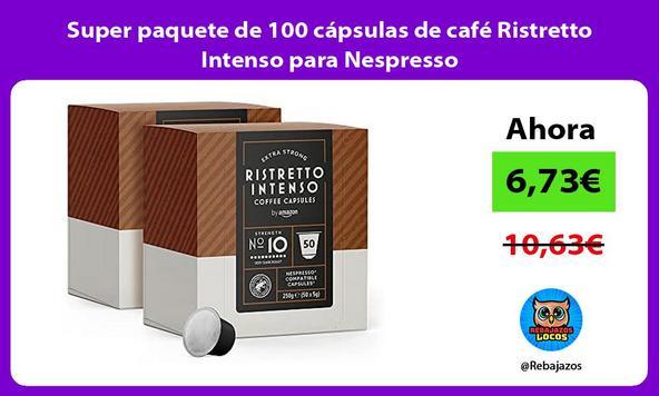Super paquete de 100 cápsulas de café Ristretto Intenso para Nespresso