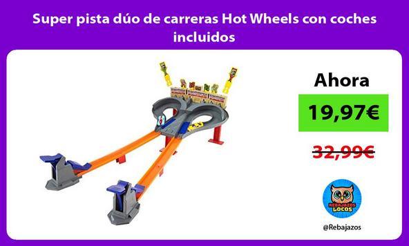 Super pista dúo de carreras Hot Wheels con coches incluidos
