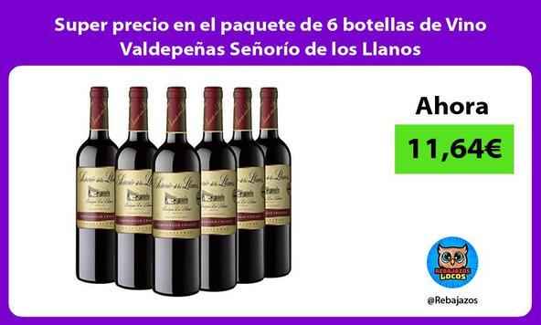Super precio en el paquete de 6 botellas de Vino Valdepeñas Señorío de los Llanos