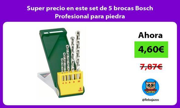 Super precio en este set de 5 brocas Bosch Profesional para piedra