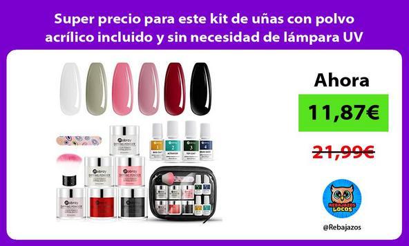 Super precio para este kit de uñas con polvo acrílico incluido y sin necesidad de lámpara UV