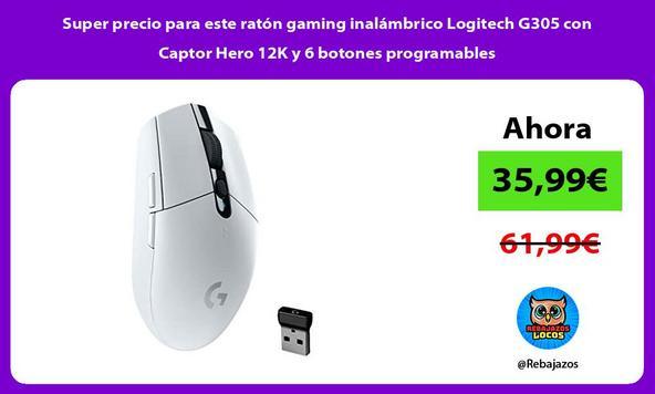 Super precio para este ratón gaming inalámbrico Logitech G305 con Captor Hero 12K y 6 botones programables