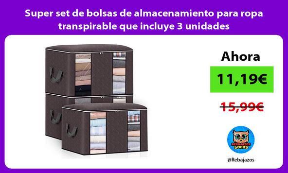 Super set de bolsas de almacenamiento para ropa transpirable que incluye 3 unidades