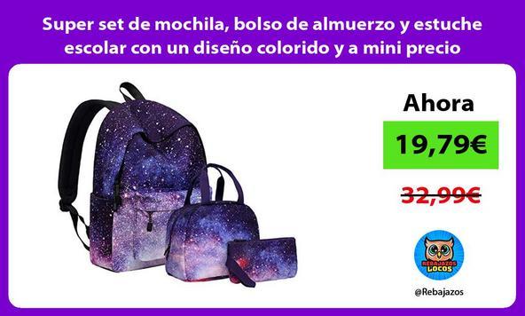 Super set de mochila, bolso de almuerzo y estuche escolar con un diseño colorido y a mini precio