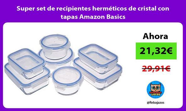 Super set de recipientes herméticos de cristal con tapas Amazon Basics