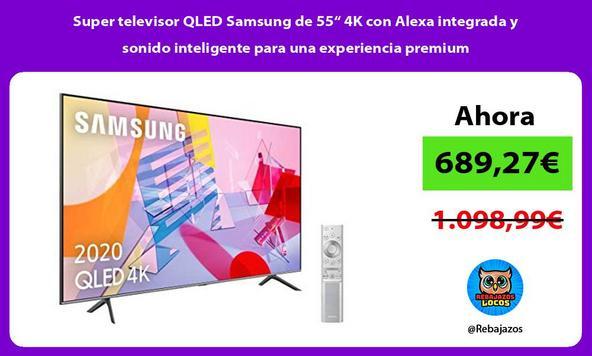 """Super televisor QLED Samsung de 55"""" 4K con Alexa integrada y sonido inteligente para una experiencia premium"""