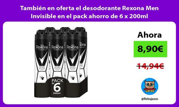 También en oferta el desodorante Rexona Men Invisible en el pack ahorro de 6 x 200ml