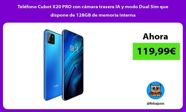 Teléfono Cubot X20 PRO con cámara trasera IA y modo Dual Sim que dispone de 128GB de memoria interna
