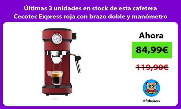 Últimas 3 unidades en stock de esta cafetera Cecotec Express roja con brazo doble y manómetro