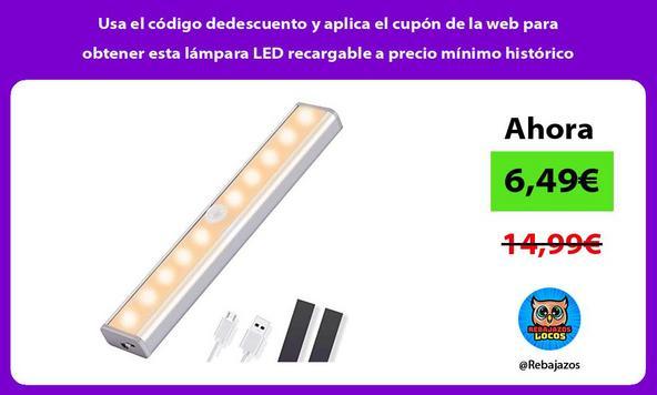 Usa el código dedescuento y aplica el cupón de la web para obtener esta lámpara LED recargable a precio mínimo histórico