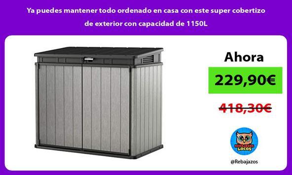 Ya puedes mantener todo ordenado en casa con este super cobertizo de exterior con capacidad de 1150L