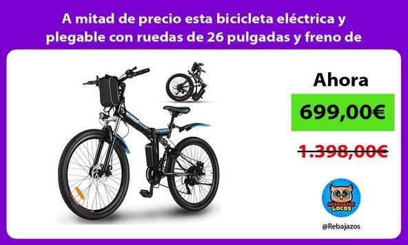 A mitad de precio esta bicicleta eléctrica y plegable con ruedas de 26 pulgadas y freno de disco