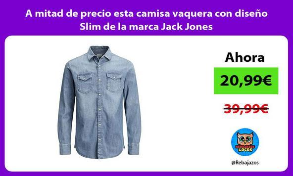 A mitad de precio esta camisa vaquera con diseño Slim de la marca Jack Jones