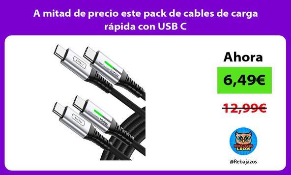 A mitad de precio este pack de cables de carga rápida con USB C