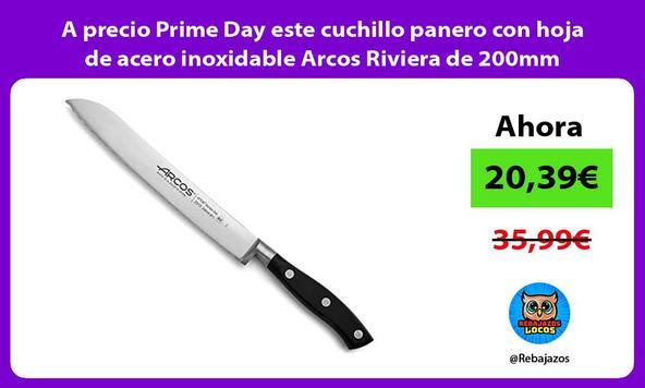 A precio Prime Day este cuchillo panero con hoja de acero inoxidable Arcos Riviera de 200mm