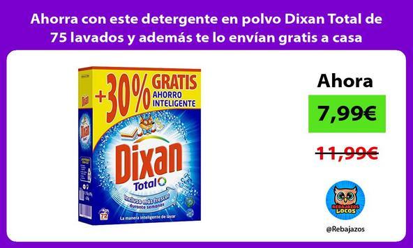 Ahorra con este detergente en polvo Dixan Total de 75 lavados y además te lo envían gratis a casa