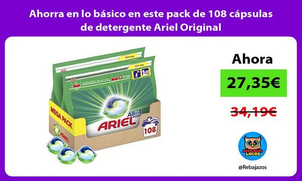Ahorra en lo básico en este pack de 108 cápsulas de detergente Ariel Original