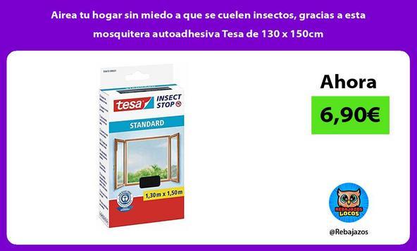 Airea tu hogar sin miedo a que se cuelen insectos, gracias a esta mosquitera autoadhesiva Tesa de 130 x 150cm