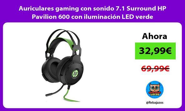Auriculares gaming con sonido 7.1 Surround HP Pavilion 600 con iluminación LED verde