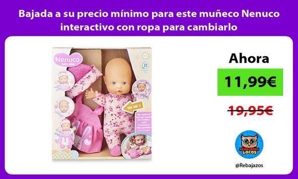 Bajada a su precio mínimo para este muñeco Nenuco interactivo con ropa para cambiarlo