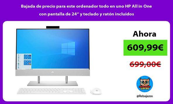 """Bajada de precio para este ordenador todo en uno HP All in One con pantalla de 24"""" y teclado y ratón incluidos"""
