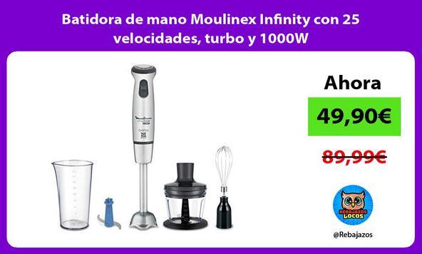 Batidora de mano Moulinex Infinity con 25 velocidades, turbo y 1000W