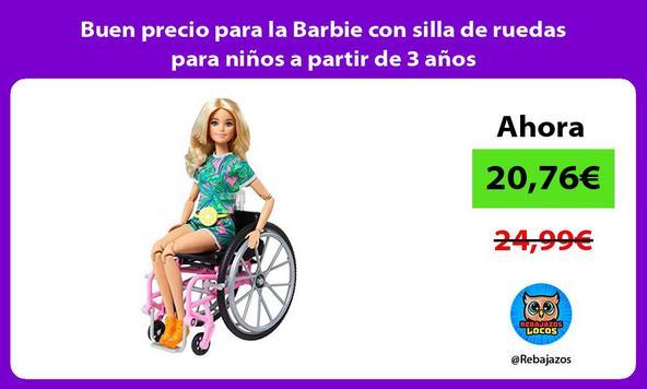 Buen precio para la Barbie con silla de ruedas para niños a partir de 3 años