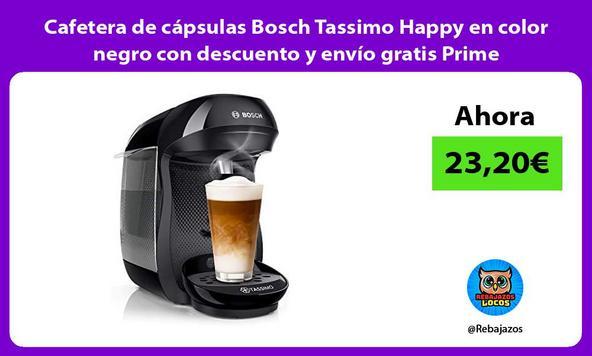 Cafetera de cápsulas Bosch Tassimo Happy en color negro con descuento y envío gratis Prime