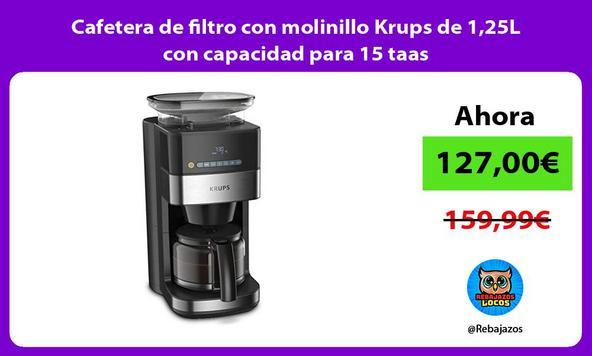 Cafetera de filtro con molinillo Krups de 1,25L con capacidad para 15 taas