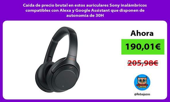 Caída de precio brutal en estos auriculares Sony inalámbricos compatibles con Alexa y Google Assistant que disponen de autonomía de 30H